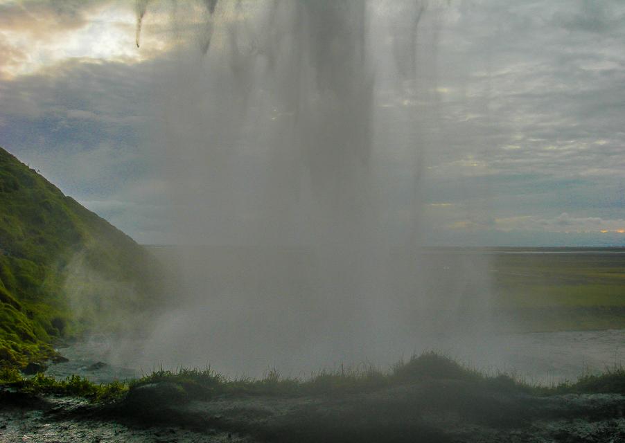Skógafoss waterfall behind